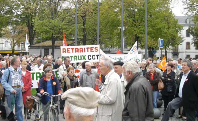 Joint union and retirees rally in Tarbes, Hautes-Pyrenees last Thursday for an increase in pensions