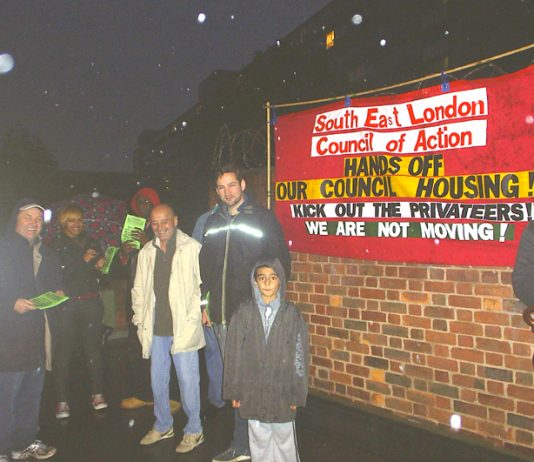Tenants and trade unionists on the South-East London Council of Action picket before the AGM