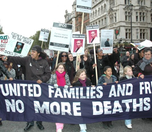 Angry relatives and friends of those who have died in custody marching to Parliament Square on Saturday – more pictures in photo gallery