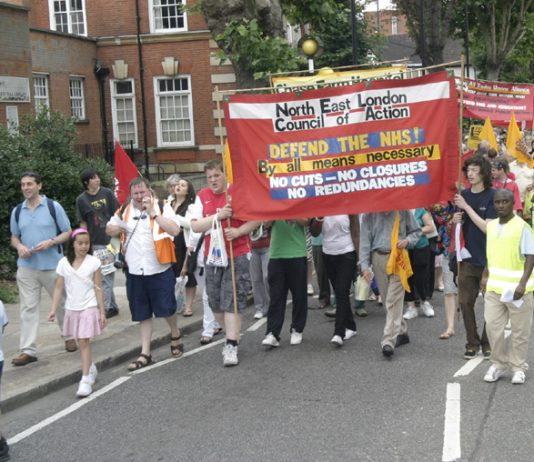 North East London Council of Action demonstration in Enfield on July 26 demanding that Chase Farm Hospital be kept open