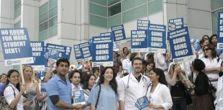 Medical students protest outside University College Hospital  against the introduction of accommodation charges