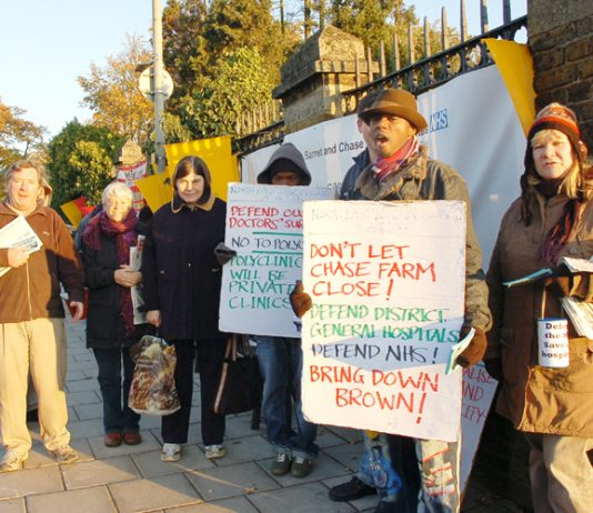 The North-East London Council of Action held another successful picket yesterday against the threatened closure of Chase Farm Hospital in Enfield