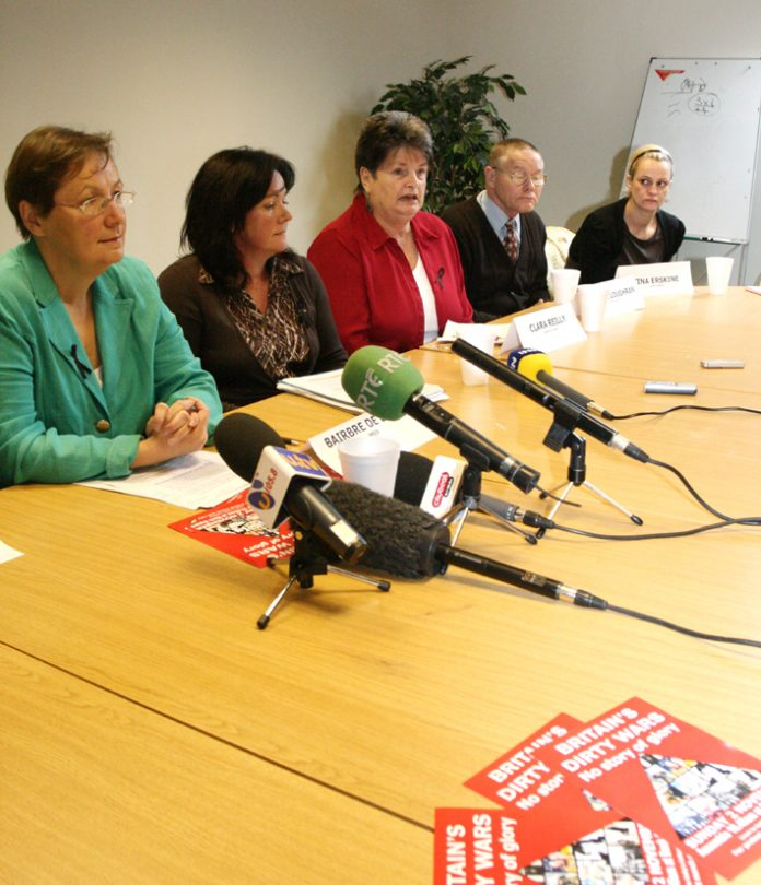 Relatives who lost loved ones at the hands of the British army and Sinn Fein MEP, Bairbre de Brun, and West Belfast Assembly member Jennifer McCann at the press conference