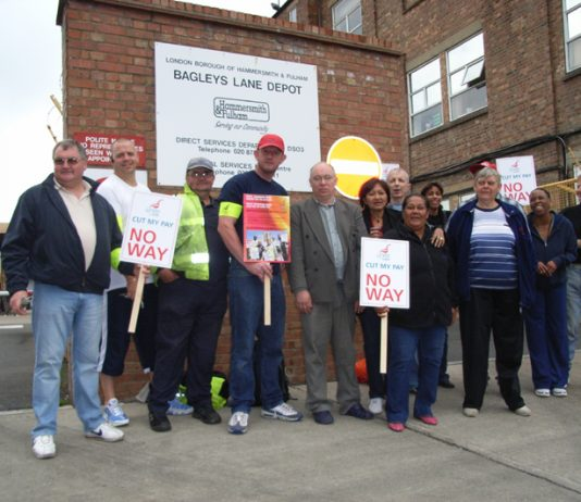 Hammersmith and Fulham council staff picketing outside the Bagleys Lane depot during July's national pay strike byl local government workers