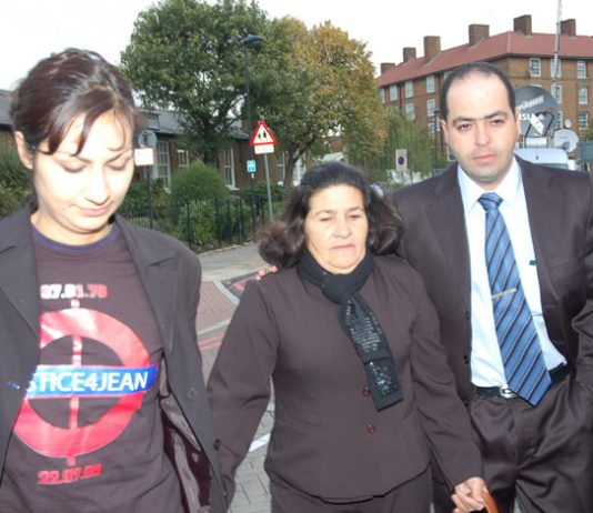 Jean Charles de Menezes' mother, MARIA OTONE DE MENEZES (centre) and his brother GIOVANI arriving at the inquest last week