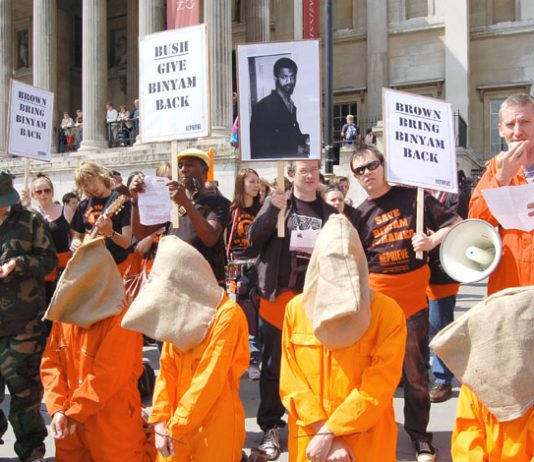 Demonstrators stage a protest in Trafalgar Square demanding the release of Binyam Mohamed from Guantanamo Bay