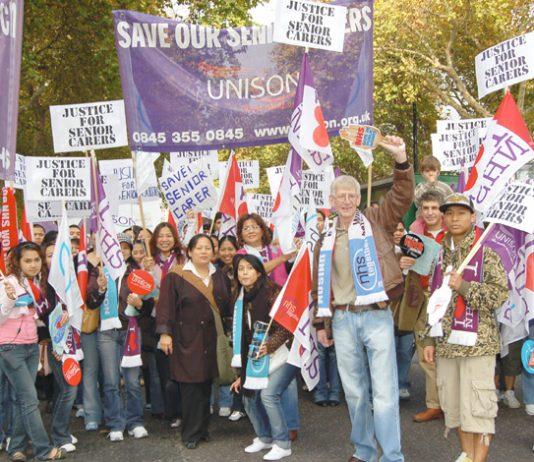 Filipino senior carers on last November's NHSTogether march