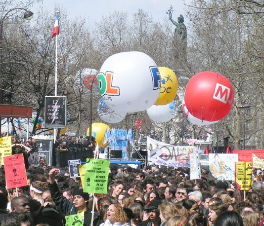 Section of the mass demonstration in Paris during the general strike on April 4 2006