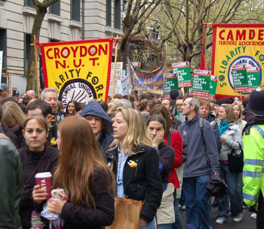 Camden NUT banner on the demonstration in London during the strike over pay on April 24th