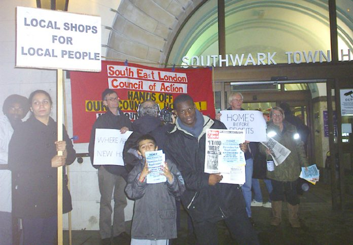 Council tenants picketing with the Council of Action outside Southwark Town Hall on Wednesday night
