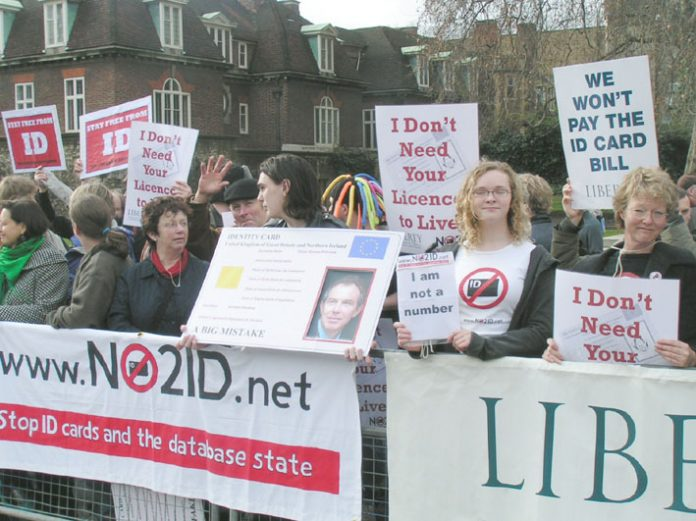 NO2ID protest outside Parliament in February 2006 against the Bill introducing an ID card scheme