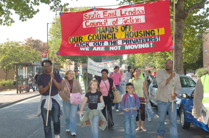 The South-East London Council of Action marching to defend council tenants on the threatened Heygate Estate, Elephant and Castle