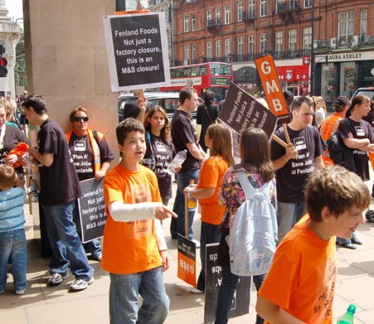 Fenland Foods workers and their families demonstrate outside Marks and Spencer Oxford Street store demanding their jobs be saved