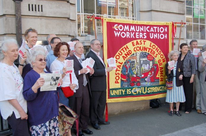 Postal workers and pensioners demonstrate against the closure of Borough Post Office in south east London