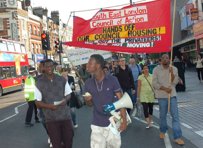 South East London Council of Action march in Southwark against the demolition of council housing