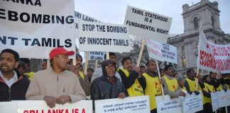 Demonstrators demanded a halt to the bombing of the Tamil areas in northern Sri Lanka by the Sri Lankan air force