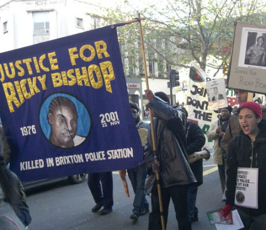 The Justice for Ricky Bishop campaign marching through south London on Saturday