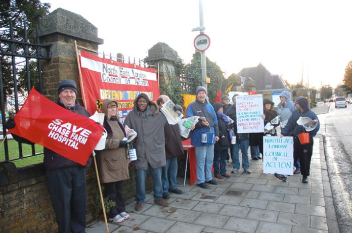North East Lodon Council of Action pickets of Chase Farm Hospital said everyone was opposed to the closure