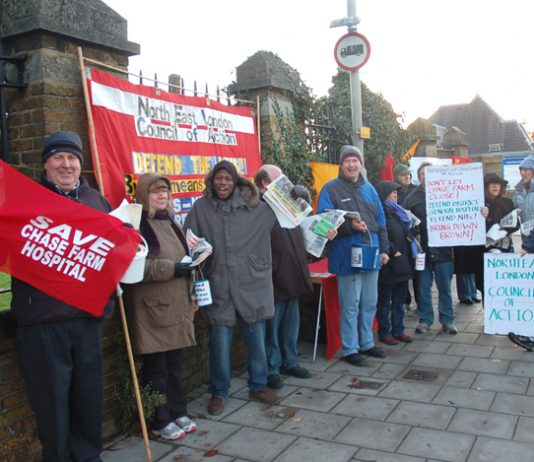 Youth and trade unionists joined the North-East London Council of Action's latest picket to save Chase Farm on Tuesday morning