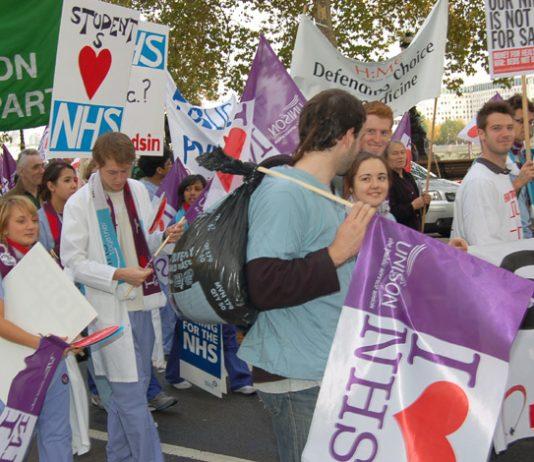Student nurses on the NHSTogether demonstration against privatisation last November