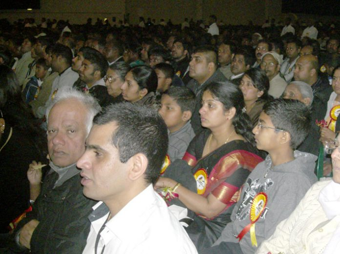 Part of the 20,000-strong audience at the ExCeL Centre in Docklands yesterday afternoon celebrating Tamil Heroes Day