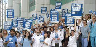 Medical students protest against student debt