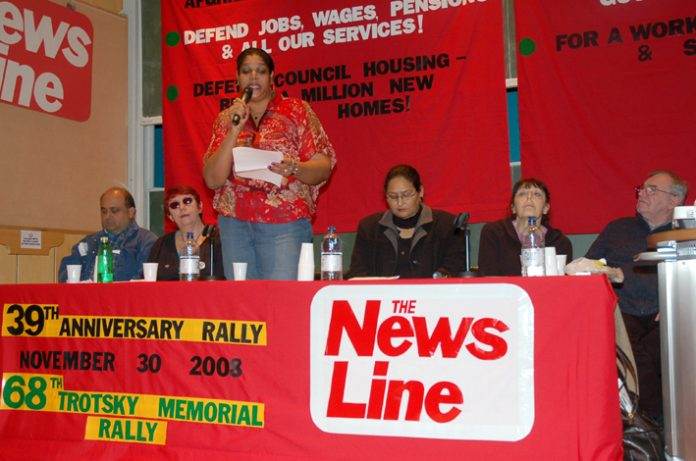Chagos Islands Community Association chair HENGRIDE PERMAL addressing the News Line Anniversary Rally yesterday