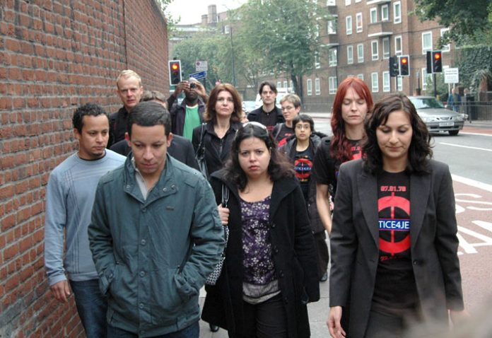 Cousins of Jean Charles de Menezes and supporters arriving for the first day of the inquest on September 22nd