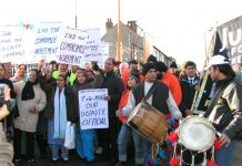 Sacked Gate Gourmet workers rallying in Southall in December 2005 with the support of the local community. They are still fighting for their rights
