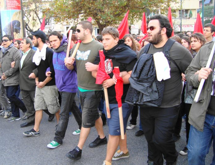 Students on Sunday's demonstration in Athens. Demonstrations and fighting erupted all over Greece