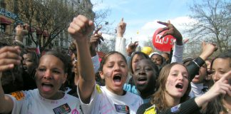 French lycée students marching in Paris during the April 2006 general strike