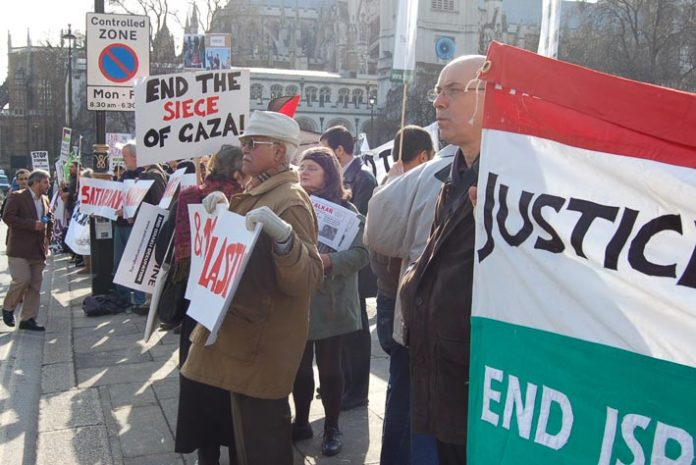 Demonstrators outside parliament last March demanding an end to the Israeli siege of Gaza
