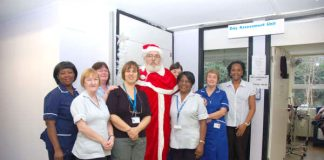 Chase Farm picket 'Father Christmas'  brought good wishes to maternity department staff
