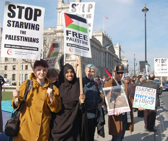 Demonstrators in London's Parliament Square last March demand an end to the Israeli siege of Gaza