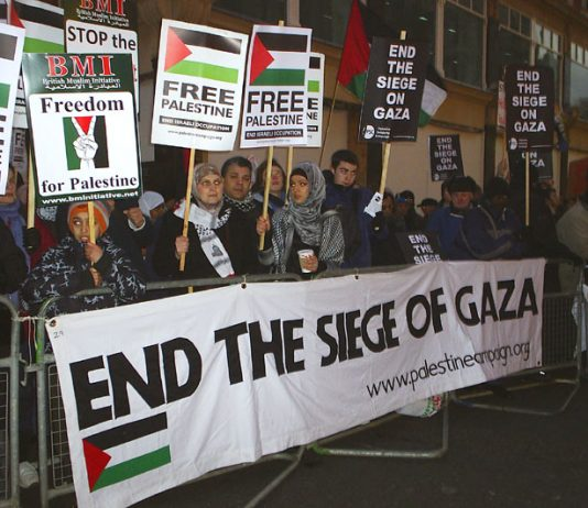 A section of the over a thousand-strong picket of the Israeli Embassy on Monday demanding an end to the Israeli bombing and siege of Gaza