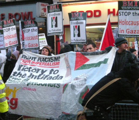 A section of the angry picket opposite the entrance to the Israeli embassy yesterday demanding an end to the Zionist 'holocaust'