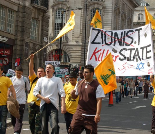 Youth marching in London on August 5th 2006 demanding an end to the Israeli bombing of Lebanon