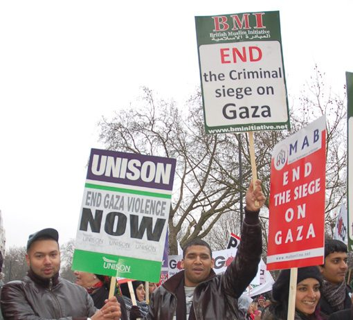 Marchers on last Saturday's demonstration in London demand the lifting of the siege on Gaza