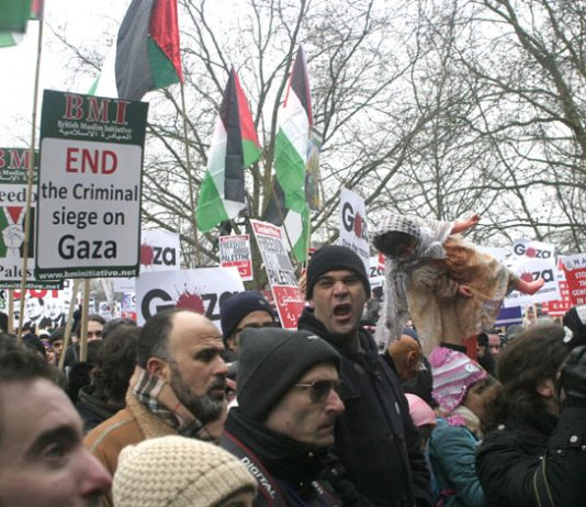 Angry marchers in London last Saturday denounce Israel's attack on Gaza