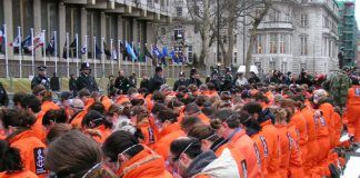 Protest outside the US Embassy in London in January 2007, the fifth anniversary of the opening of Guantánamo Bay prison