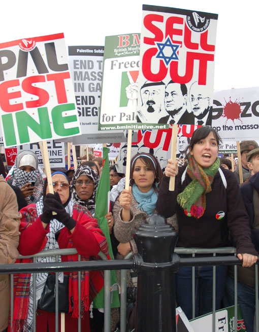 A section of the 10,000-strong rally in Trafalgar Square on Saturday show their support for the Palestinian struggle