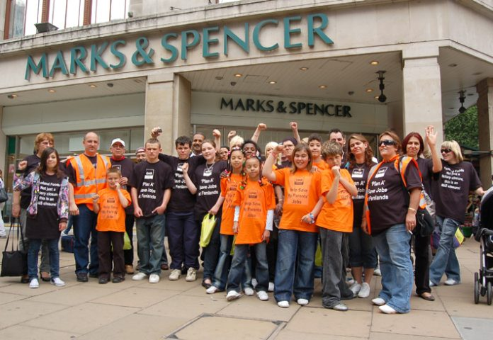 Marks & Spencer suppliers Fenland Foods workers demonstrating last May in defence of their jobs at the M&S Oxford Street store