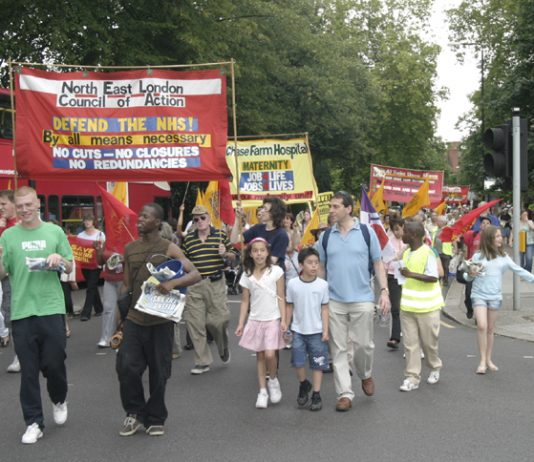 North East London Council of Action march in Enfield against the closure of Chase Farm Hospital