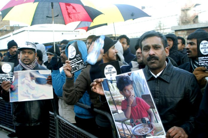 A section of the 2,000-strong demonstration outside the BBC in White City demanding that the BBC must not assist Sri Lanka  genocide against Tamils