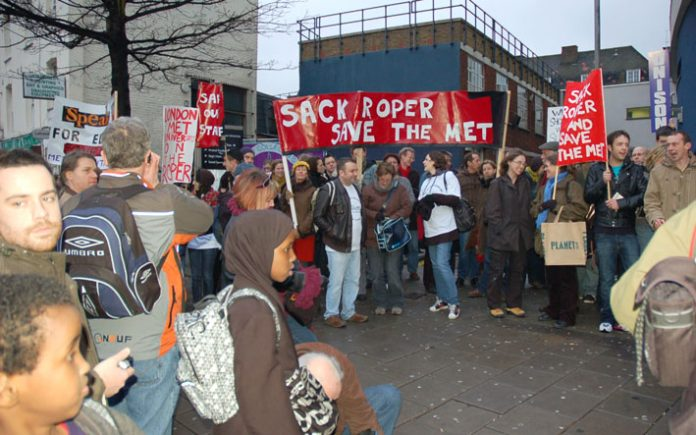 Some of the over 500 students and staff protesting outside London Metropolitan University on Wednesday night