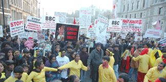 Some of the 125,000 marchers demanding an end to the Sri Lankan Army attack on the Tamil areas of Sri Lanka
