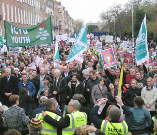 Mass rally in Dublin during the December 2005 general strike in support of the Irish Ferries workers' occupation to defend their jobs