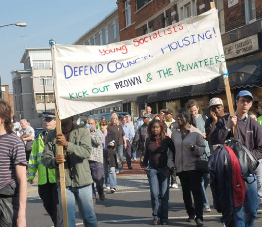 Young Socialists marching against the sell-off of council homes in Southwark