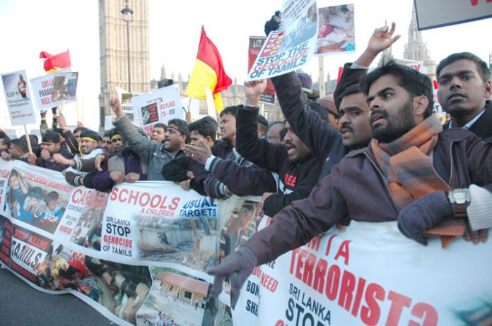 Marchers on the 125,000-strong demonstration in London on January 31 demanding an end to the Sri Lankan army attacks on Tamil civilians