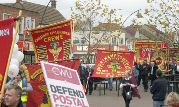 CWU branches from all over the country supported the November 15 march in Milton Keynes to defend the Mail Centre open